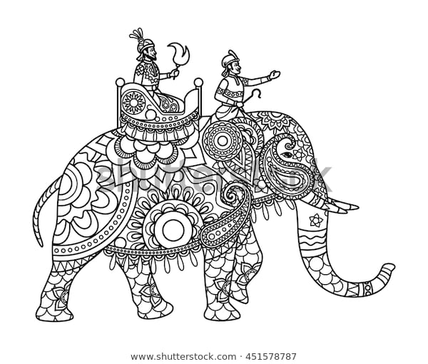 indian maharajah on elephant coloring pages stock