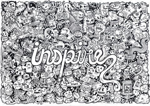 inspire doodle coloring page free printable coloring pages