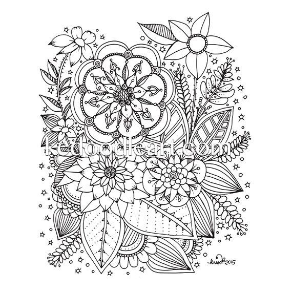 instant digital download adult coloring page flowers