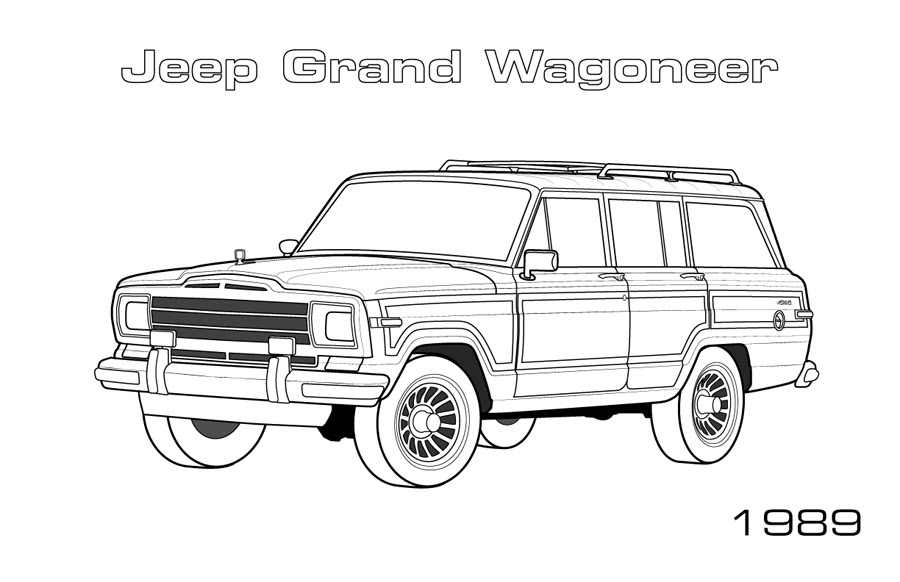 jeep grand wagoneer coloring page car coloring pages