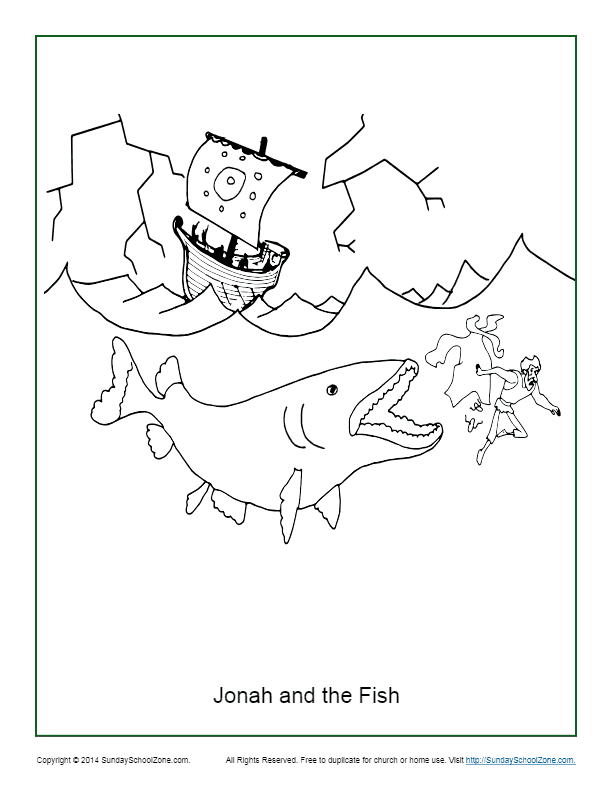 jonah and the fish coloring page childrens bible