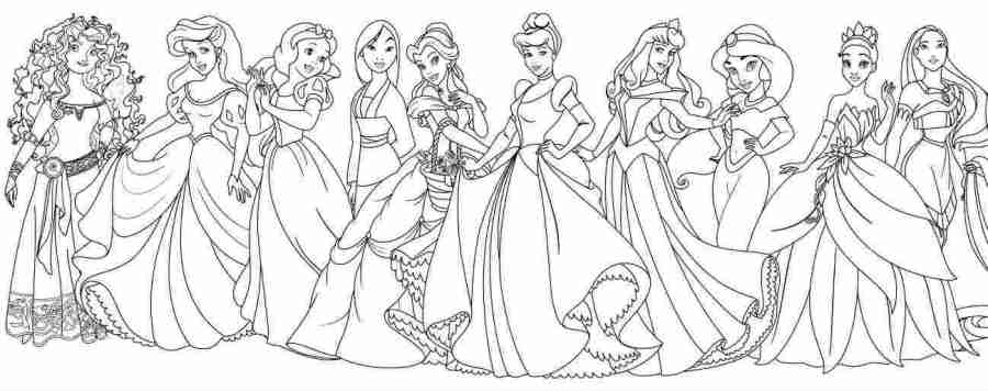 just coloring all disney princesses together coloring pages