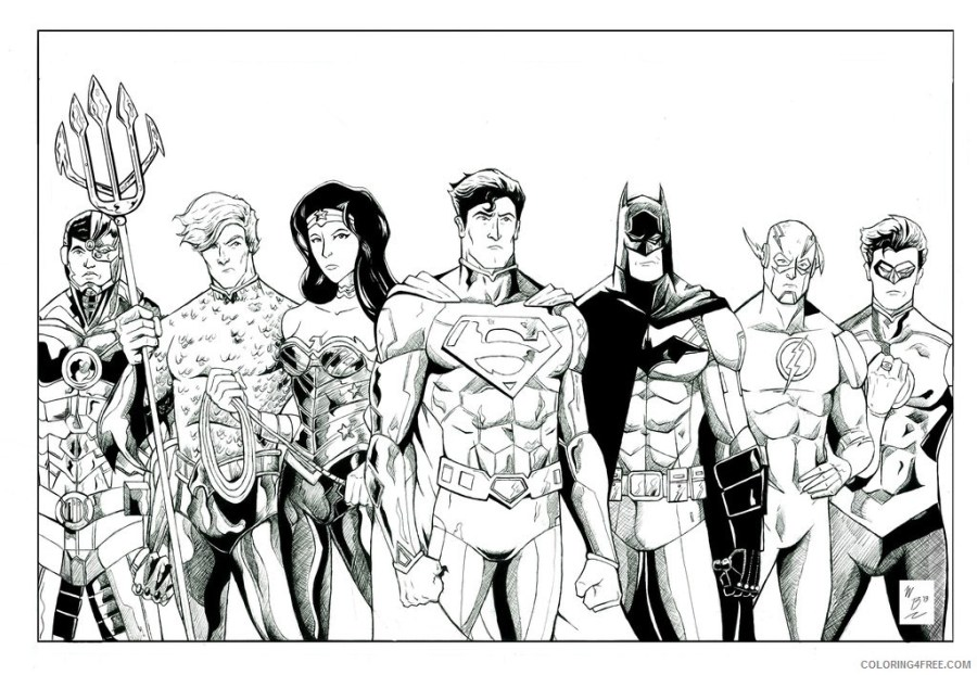 justice league coloring pages all heroes coloring4free