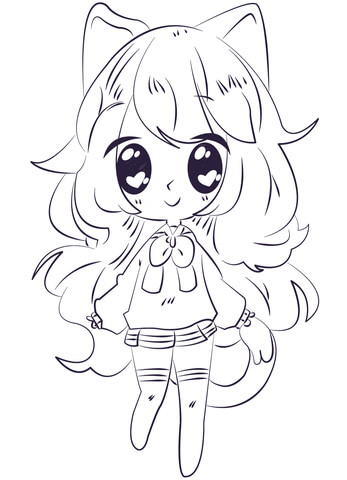 kawaii anime girl coloring page free printable coloring pages