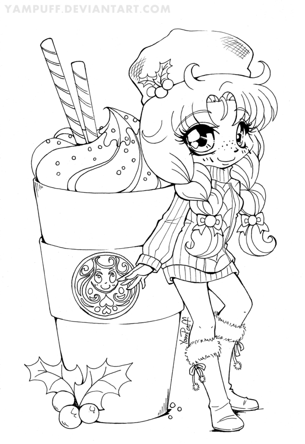 kawaii girls coloring pages