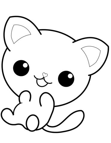 kawaii kitty coloring page free printable coloring pages