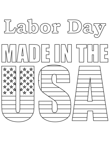 labor day made in the usa coloring page free printable