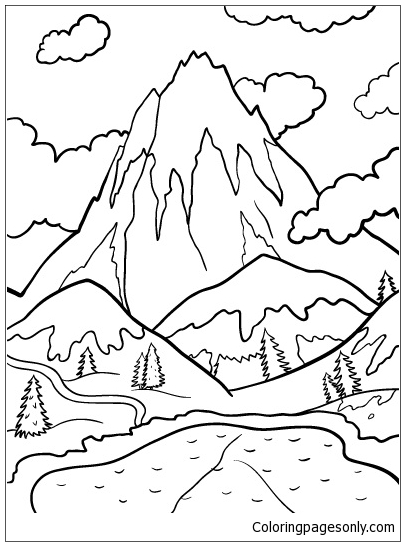 lake and mountains coloring page free coloring pages online