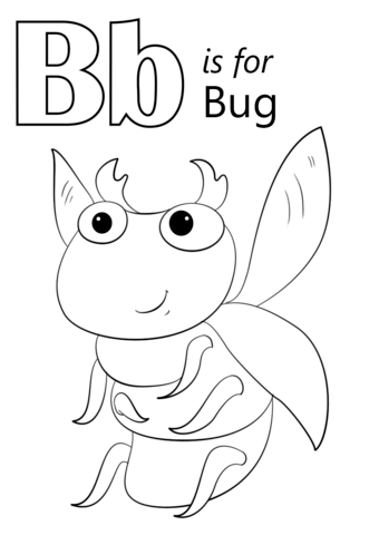 letter b is for bug coloring page free printable coloring