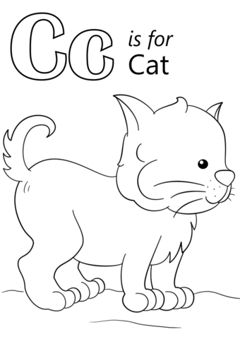 letter c is for cat coloring page free printable coloring