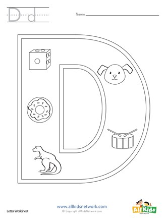 letter d coloring page all kids network