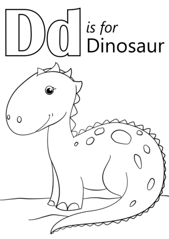 letter d is for dinosaur coloring page free printable