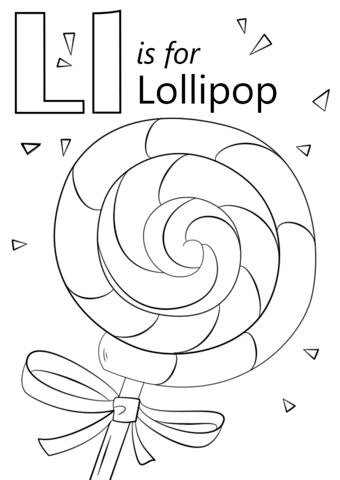 letter l is for lollipop coloring page free printable