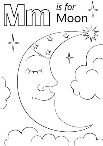 letter m is for moon coloring page free printable coloring