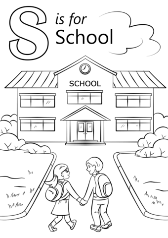 letter s is for school coloring page free printable