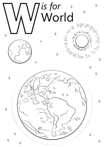 letter w is for world coloring page free printable
