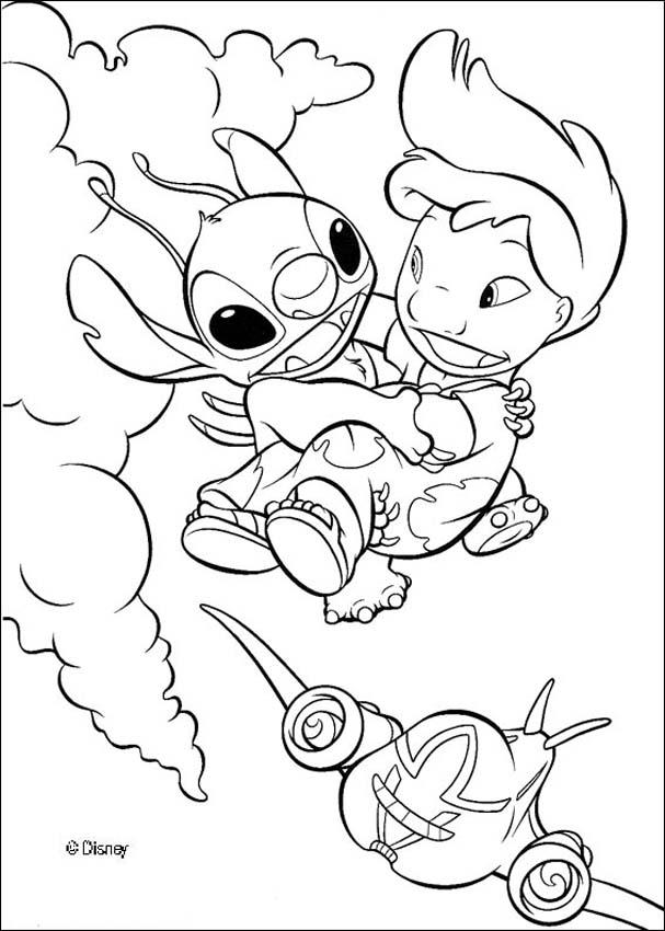 lilo flying with stitch coloring pages hellokids