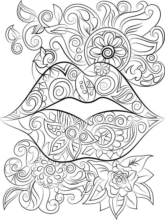 lips and flowers colouring page instant digital download
