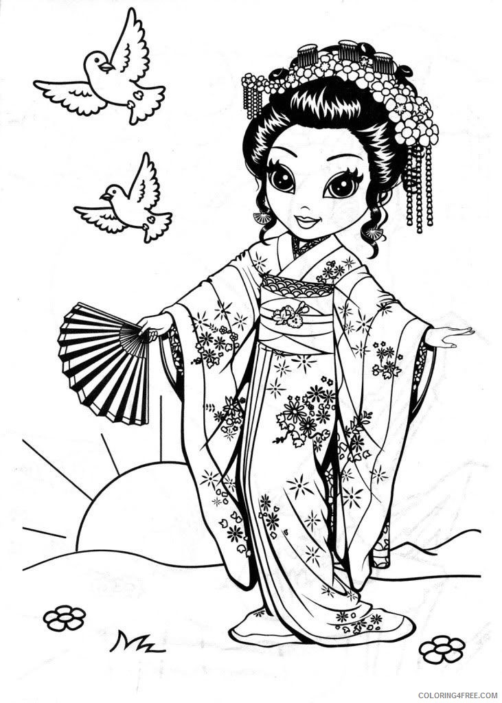 lisa frank coloring pages chinese girl coloring4free