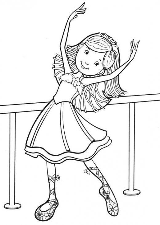 little ballet dancer smiling coloring page dance basteln