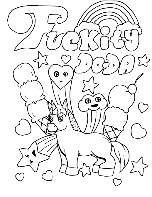 magical unicorn swear word coloring page for adults funny