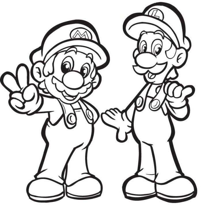 mario with luigi coloring pages super mario coloring pages