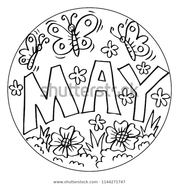 may coloring pages kids stock vector royalty free 1144271747