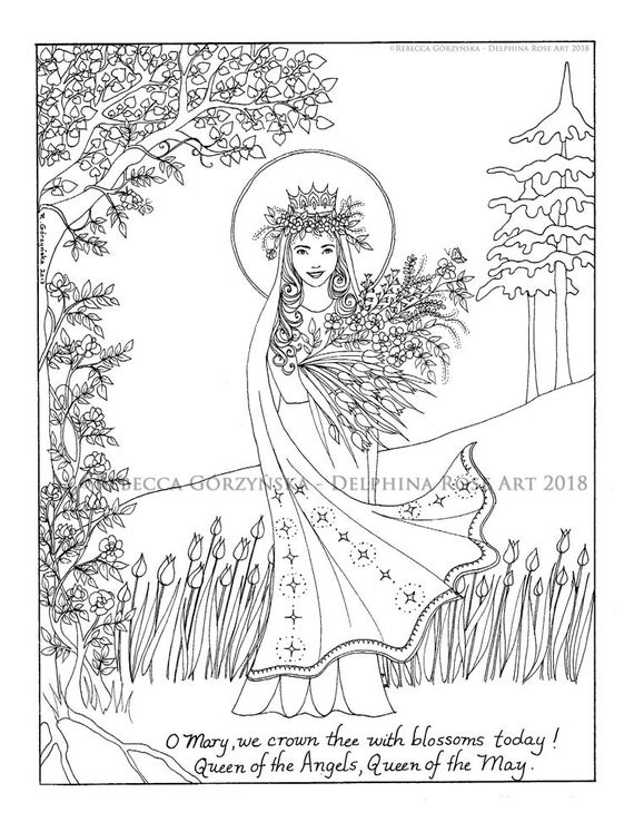 may queen coloring page our lady mary queen of heaven marian christian catholic art