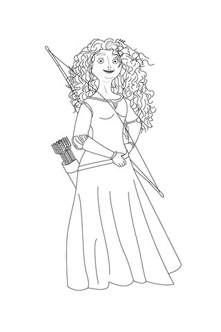 merida shows off her bow and arrows coloring page free