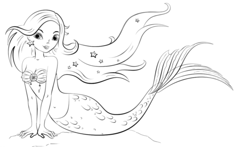 mermaid coloring page free printable coloring pages