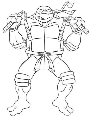 michelangelo ninja turtle coloring page free printable