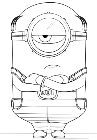 minion mel from despicable me 3 coloring page free