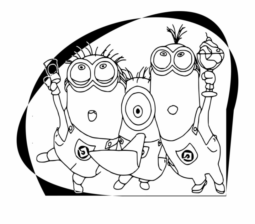 minions coloring pages happy birthday colouring card