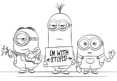 minions from despicable me 3 coloring page free printable