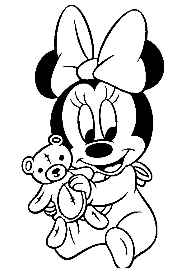 minnie mouse with teddy coloring page free printable