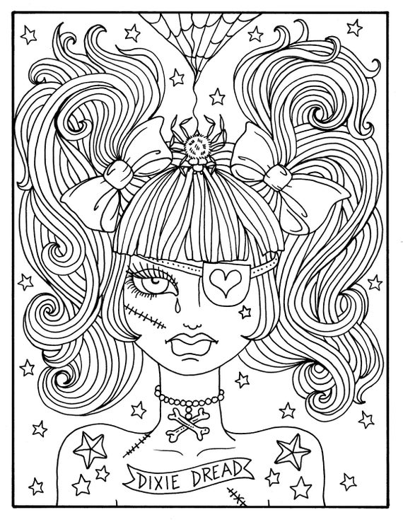 misfit girls 5 pages halloween misfits creepy cute coloring pages digital coloring digi stamp adult coloring spooky scary fun