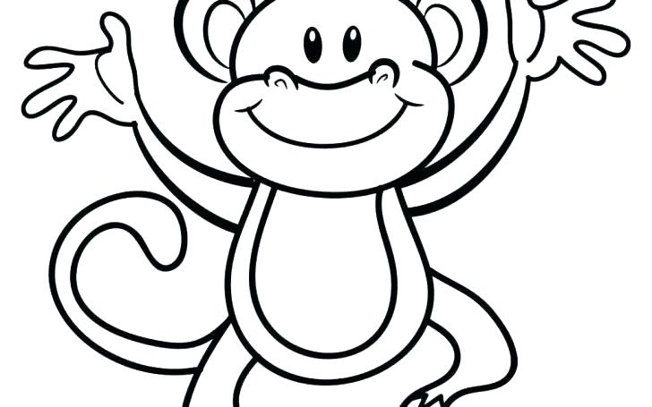 monkey color page cute coloring pages printable face