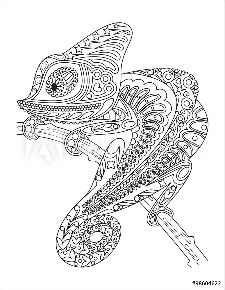 monochrome chameleon coloring page black over white foto