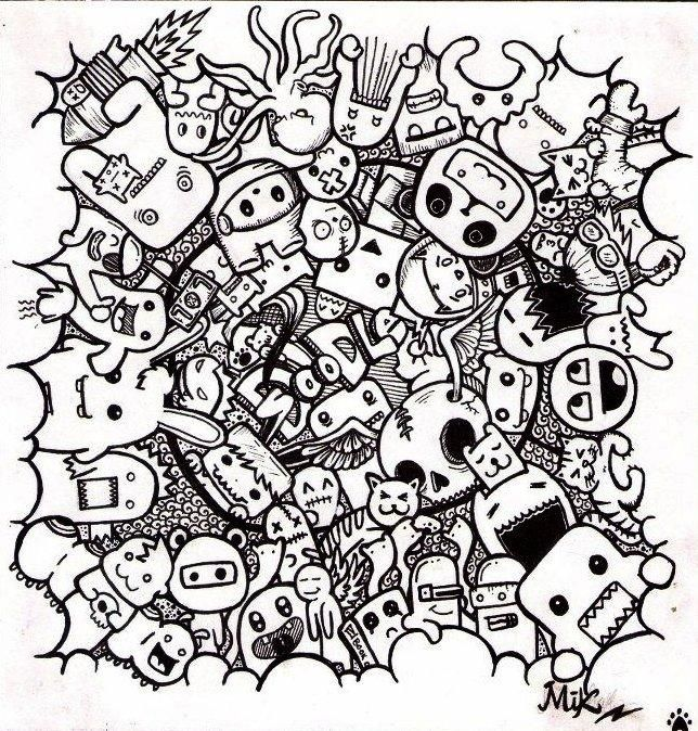 monster doodles colouring pages in 2020 doodle drawings