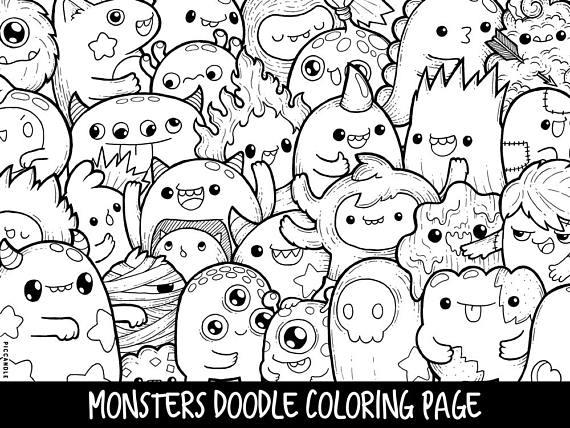monsters doodle coloring page printable cutekawaii