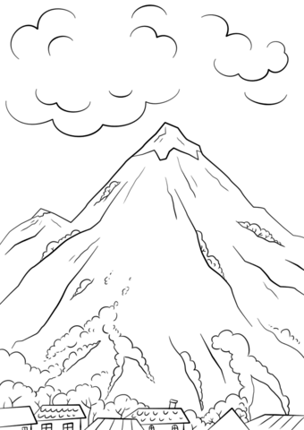 mountain scene coloring page free printable coloring pages