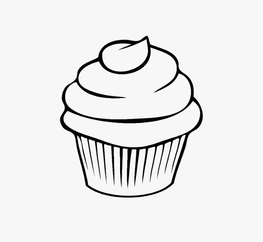 muffin clipart outline cupcake coloring page transparent