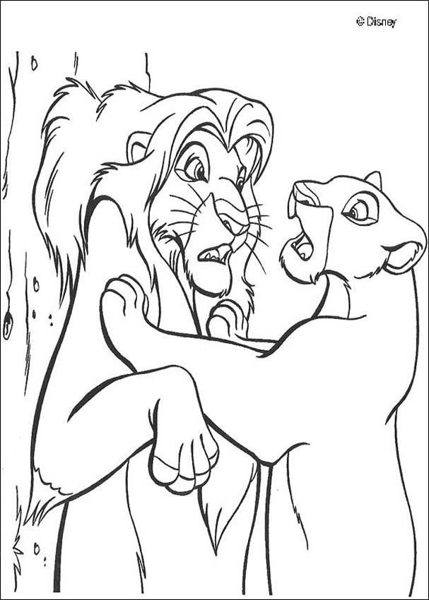 nala finds simba coloring pages hellokids