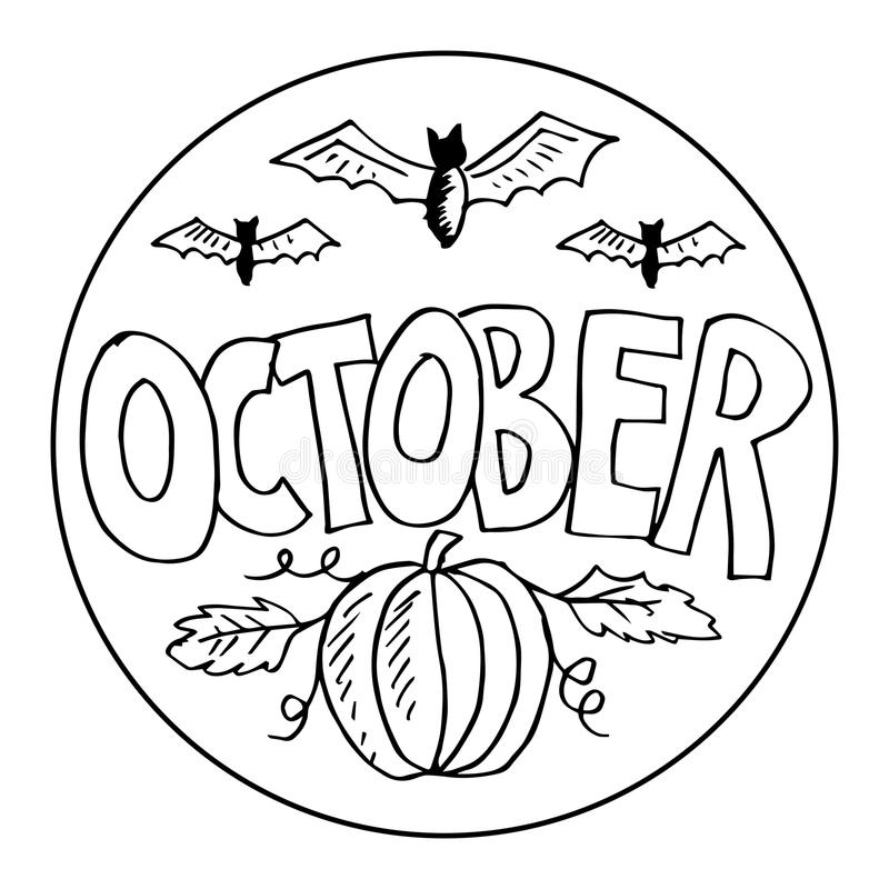 october coloring pages for kids stock vector illustration