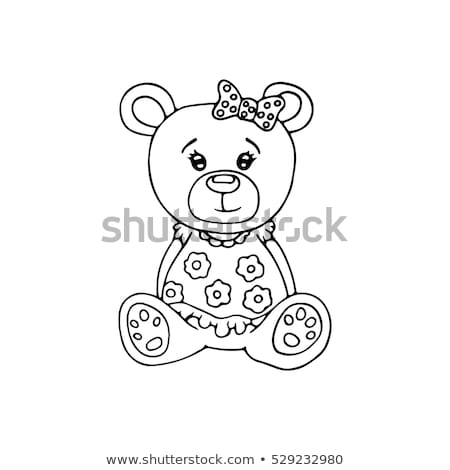 outlined cute teddy bear coloring page stock vektorgrafik