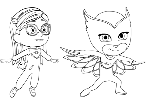 pajama hero amaya is owlette from pj masks coloring page