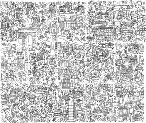 paris poster doodle coloring page free printable coloring