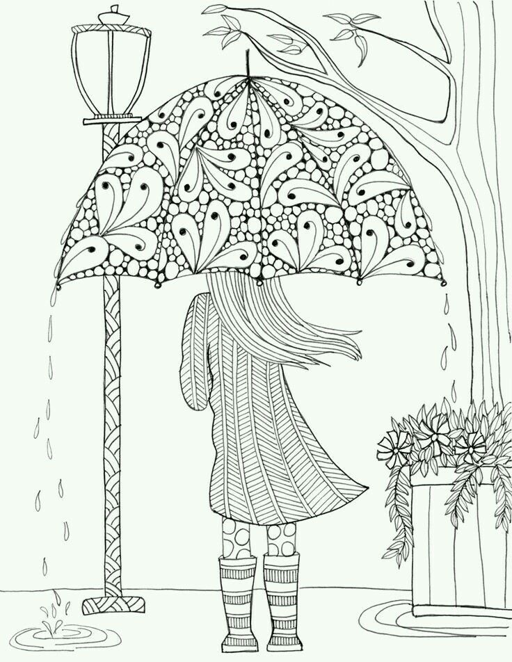 pattern illustration of a girl in the rain coloring