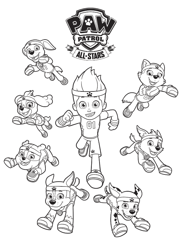 paw patrol all stars coloring page paw patrol coloring