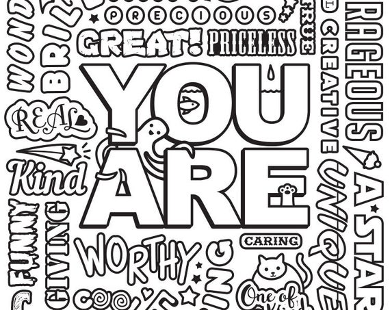 pdf you are motivational quote coloring page